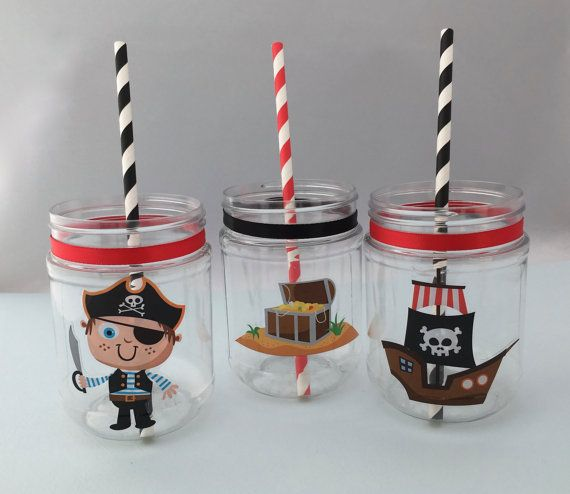 12oz Plastic Mason Jar - BPA free These are available as drink cups without lids, or as a pirate favor jar or treat jar with a solid lid -