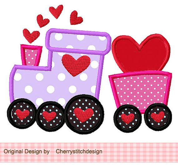 Valentine Choo Choo Train Applique 4x4 5x7 by CherryStitchDesign
