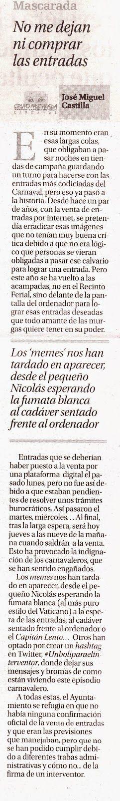 Grupo Mascarada Carnaval: Hoy estrenamos en el periódico La Opinión de Tener...