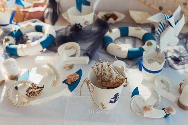 Anchors, lifebuoy, lifebelt. Candy bar decor. For decoration, for weddings, holiday.
