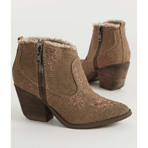 Naughty Monkey Sewn Up Ankle Boot (800 MXN) ❤ liked on Polyvore featuring shoes, boots, ankle booties, brown, side zipper boots, ankle boots, brown ankle booties, short brown boots and short boots