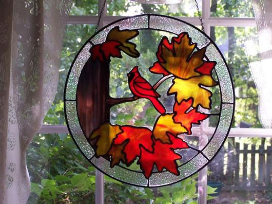 Cardinal With Autumn Leaves Delphi Stained Glass