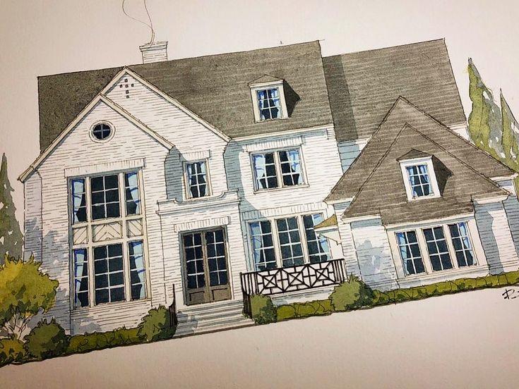 Ein einfaches, aber selbstbewusst gestrichenes Backsteinhaus. #quietdetails #zeichnen #Aquarell # …   – Downsizing