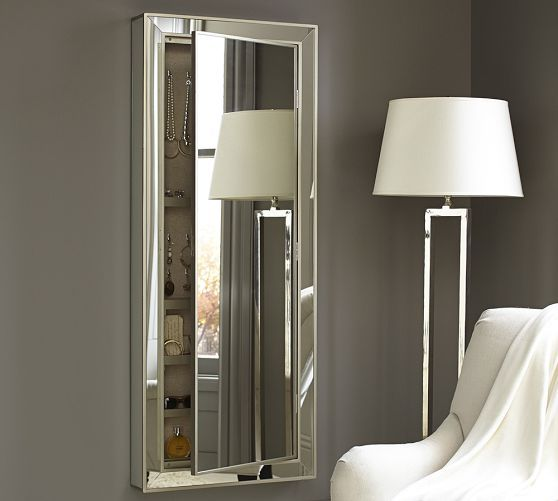 Park Mirrored Jewelry Closet | Pottery Barn - great idea to use as mirror above a desk as a vanity.