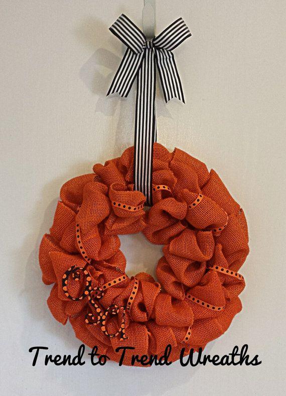 Burlap OSU Cowboys Wreath by TrendtoTrendWreaths on Etsy, $37.00