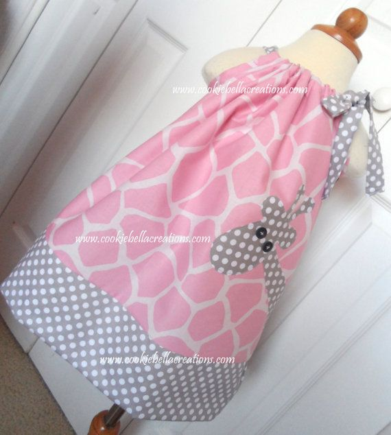 Adorable Pink Giraffe Print and Gray Dot pillowcase dress...perfect for a birthday party!