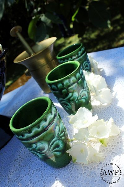 ceramic glasses with flowers