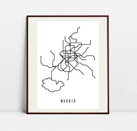 Madrid Metro Map - Black and White Art Print - Digital Download Art Print by Postery on Etsy