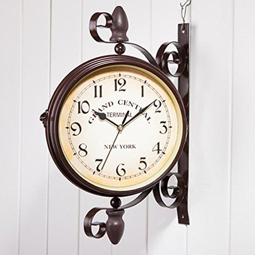 wooch wrought iron antiquelook brown round wall hanging double sided two faces train railway