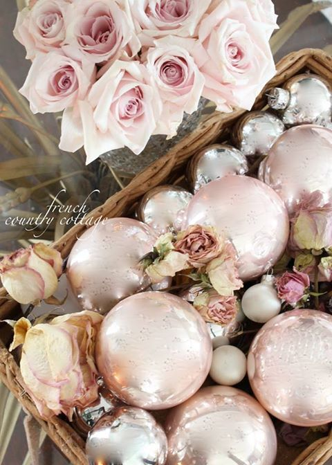 Very pale pink Christmas, shabby chic style