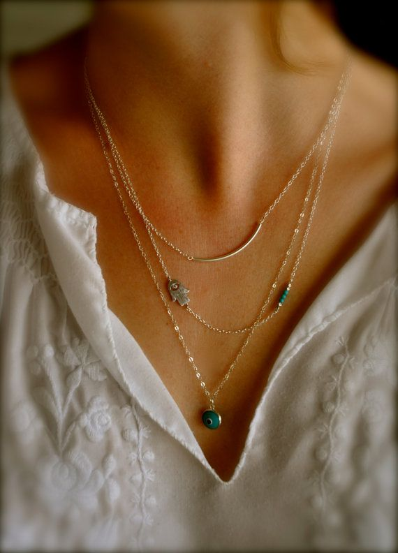 Sterling Silver Layering Necklaces, Set of 3, Sideways Hamsa, Turquoise, Evil Eye, Curved Tube on Etsy