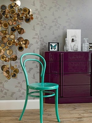 """love the purple lacquered nightstand, but first thing I thought when I saw the wall paper was """"put a bird on it"""" wallpaper! perfect for Portland!"""