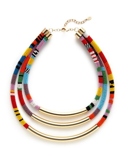 Noir Jewelry Gold & Multicolor Seed Bead Triple Row Bib Necklace