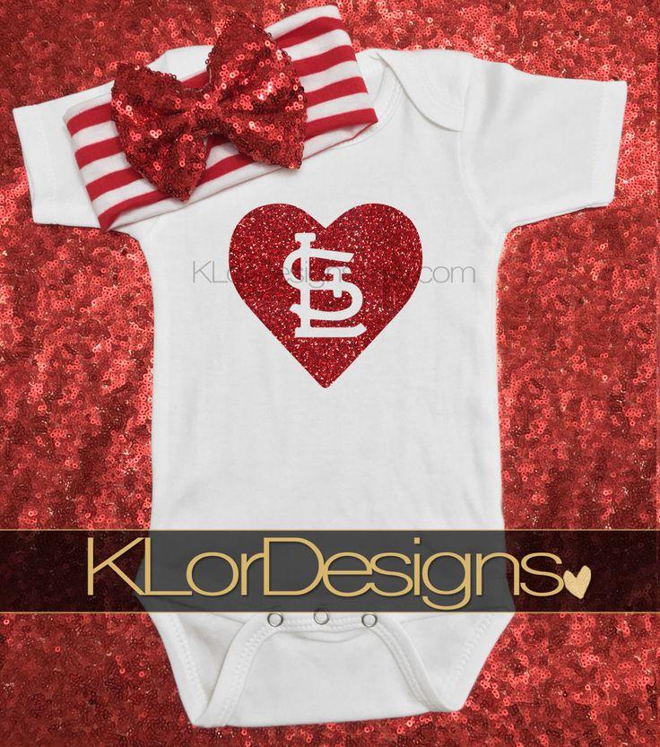 St. Louis Cardinals Onesie, St. Louis onesie,  baseball onesie, baby girl onesie, Saint Louis onesie, Cardinals onesie, MLB onesie by KLorDesigns on Etsy https://www.etsy.com/listing/452897036/st-louis-cardinals-onesie-st-louis