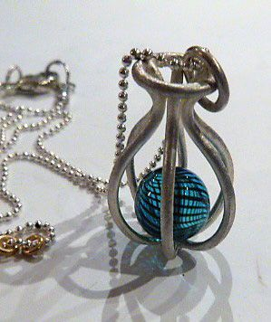 Pendant Vase in Sterling Silver with a Blue Striped Venetian Bead & Chain by Felicity Peters