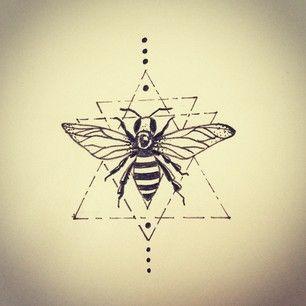 geometric honey bee tattoo - Google Search