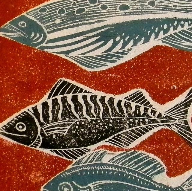 Fish Lino Prints by Mangle Prints, via Flickr