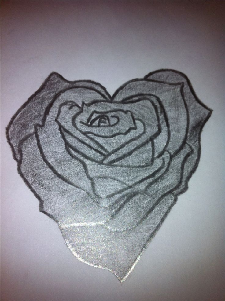 Pencil Drawings of Hearts Love | Heart Shaped Rose Drawing ...