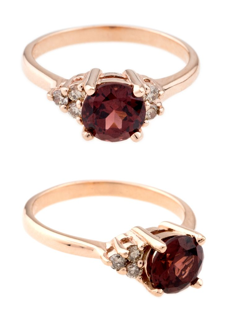 Garnet Gemstone Engagement Rings   Garnet Asymmetrical Avens Ring with Light Champagne Diamonds in 14kt rose gold.   www.bario-neal.com