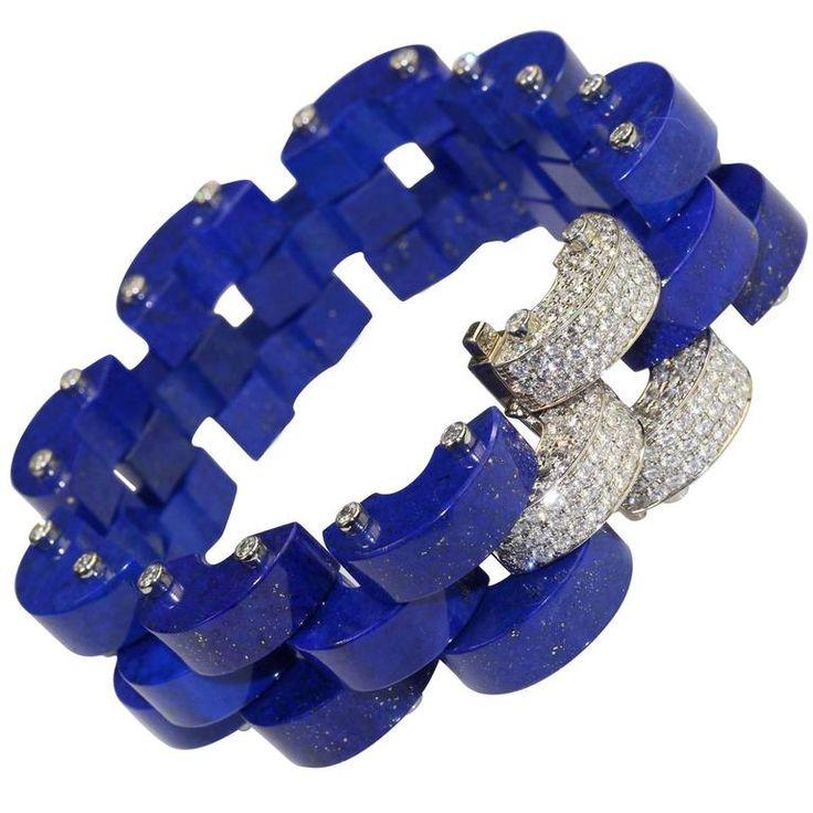 Fine  Lapis Lazulli  Diamond Tank Link Bracelet     From a unique collection of vintage modern bracelets at https://www.1stdibs.com/jewelry/bracelets/modern-bracelets/