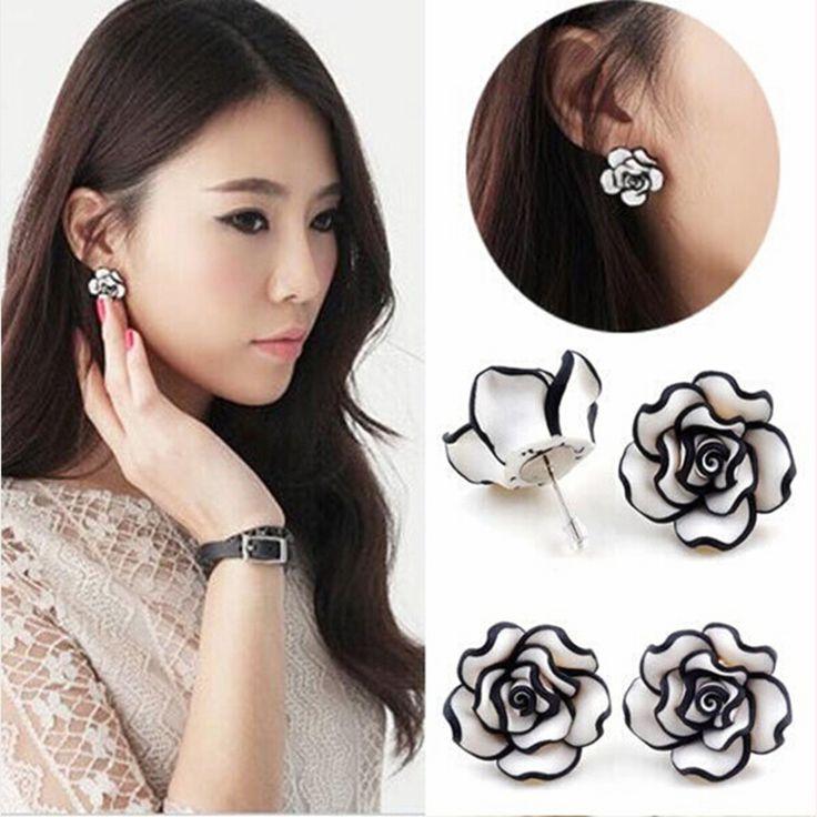 Flower Stud Earrings Female Fashion Jewelry Brincos Pendientes Rose Earrings For Women Lady ER441