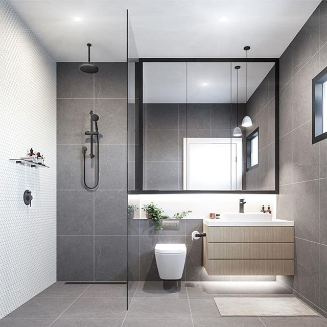Contemporary Refreshing Grey Bathroom With Elements Of Timber Greenery Monochrome Details Render