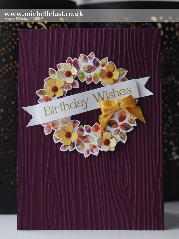 wondrous wreath stamp set and Framelits, Woodgrain embossing folder, Itty Bitty Accents Punch Pack (the little flower), Candy Dots, Satin Stitched Ribbon - Hello Honey