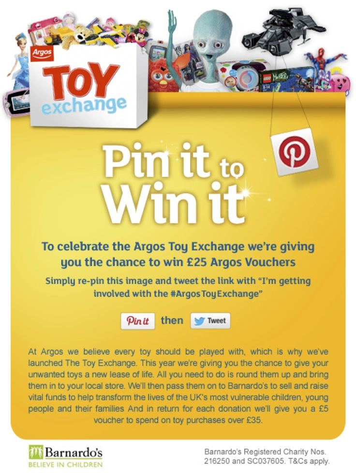 """For your chance to win Argos vouchers, simply re-pin and tweet you pin with """"I'm getting involved with the #ArgosToyExchange"""" Closing date 2/11/12 T: https://www.facebook.com/notes/argos/pin-it-to-win-it-argos-toy-exchange-terms-and-conditions/450878521631762"""