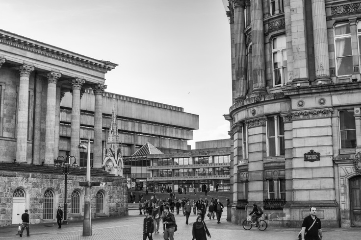 Looking towards Birmingham central Library from Victoria Square