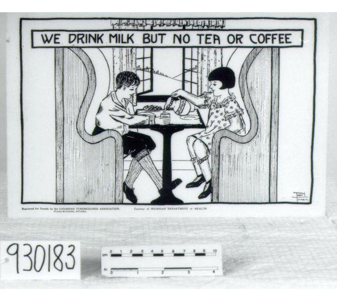 Affiche de 1920, imprimé au Canada par l'association de tuberculose canadienne, de l'association de santé du Michigan