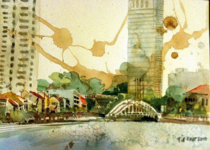 singapore river, watercolor and coffee stain. so amazing !