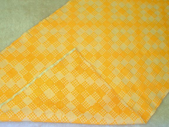 Yellow!!! Tablerunner or Bedrunner...you decide....#Vintage #Yellow #Check #Handwoven #Cotton #Greek #BasRelief  #TableRunner #BedRunner #TableDecor  #BedroomDecor #Geometric #reversible #cottageChic #country #Mediterranean #HomeDecor by #VintageHomeStories