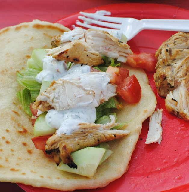 world's BEST chicken souvlaki recipe.  Includes homemade marinade, naan, and tzatziki sauce.