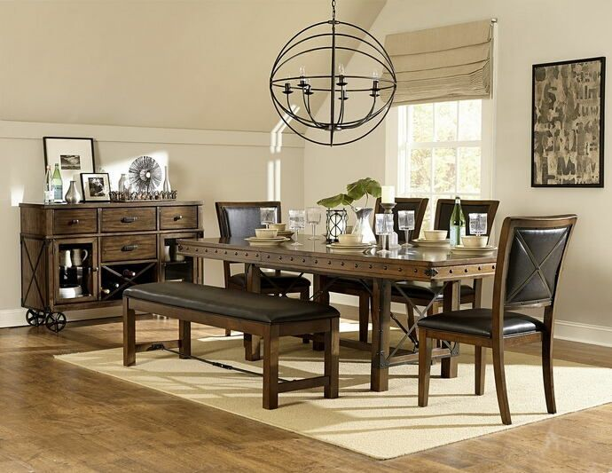 Burnished Oak Finish Wood Dining Table Set With Bench This Includes The Table4
