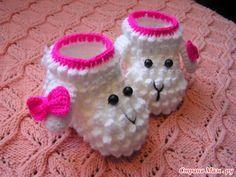 crochelinhasagulhas: Sapatinho de ovelha em crochê