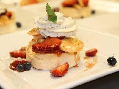 Mini Pavlovas with Wattleseed Infused Cream & Quandong Sauce