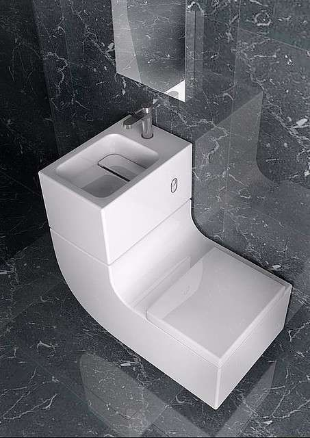 Roca's innovative, ultra-modern toilet and sink combination, called W+W (for washbasin + watercloset).This unique, space-saving bathroom fixture is not only sleek and elegant, but also environmentally friendly. Roca