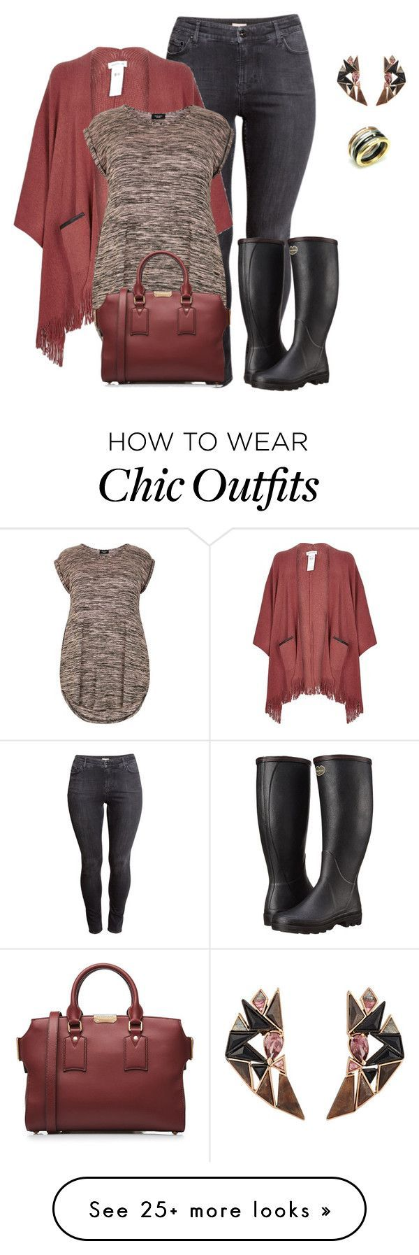 """""""plus size poncho style look2 casual chic"""" by kristie-payne on Polyvore featuring H&M, Le Chameau, River Island, JewelGlo, Nak Armstrong and Burberry"""