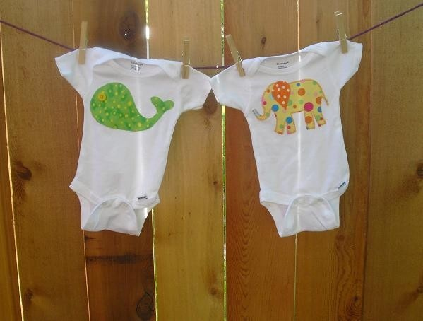 Whale Onesie - Elephant Onesie - Baby Onesie -Green and Yellow - Baby Boy or Girl - Gift Set - Polka Dots - Applique Onesie. $20.00, via Etsy.