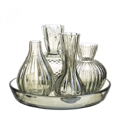 SET GLASS CONTAINERS W_TRAY IN GREEN COLOR 20X20X15