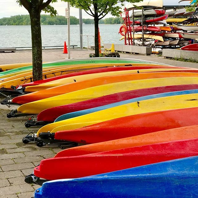 Talk a walk along the waterfront and discover the colours Toronto! These canoes are almost as colourful as the Greek Veggie Salad on today's blog. www.travelfoodcool.com (link in bio). Show your colours this weekend for Toronto Pride. #toronto #colours #travelfoodcool