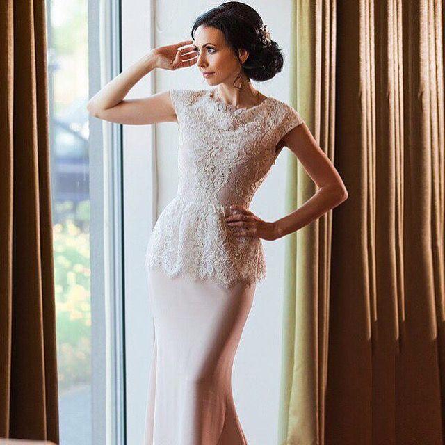 Great Lace cap sleeve peplum simple elegant wedding dress with puddle train Mermaid shape Blush