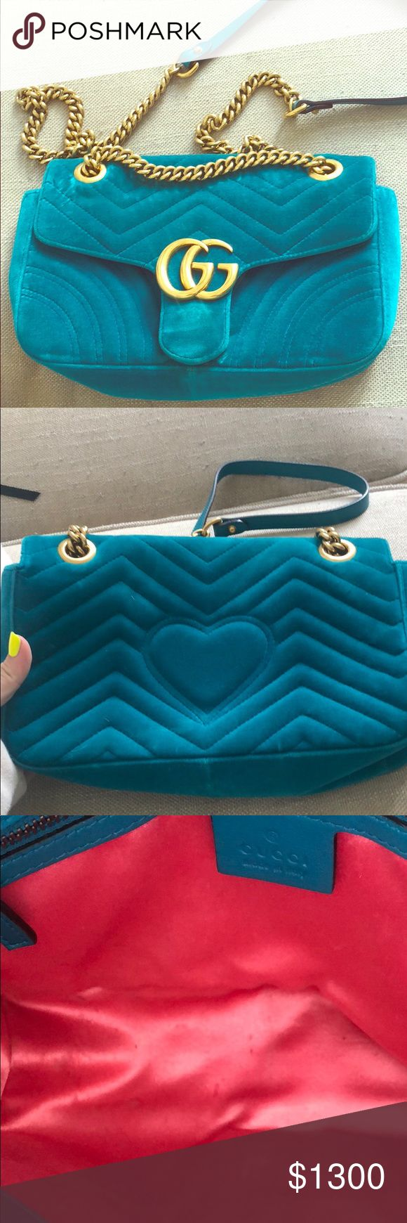 Gucci GG Marmont velvet shoulder bag Bought This in the summer in Australia before the price went up. If you check online which it's sold out you will see it is over $1700. The bag is slightly used in the inside because my snack opened inside my bag .. oops 🙊 other than that I've used it probably 3 times. The color is turquoise but Gucci calls it petrol blue velvet. Gucci Bags Crossbody Bags