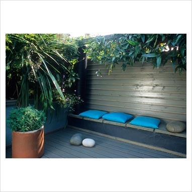 Small town courtyard garden with decking, tropical style planting and built in bench. Cordyline australis in terracotta pot, Clematis armandii growing on fence.
