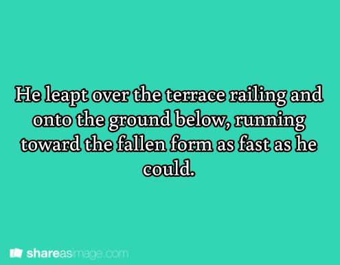Prompt -- he leapt over the terrace railing and onto the ground below, running toward the fallen form as fast as he could