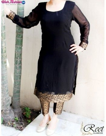 Give yourself a stylish look with this Black Georgette Kurti With Brocade Trouser. It will give you a sign of relief as well as trendy look. Available with matching brocade bottom. For more details whatsapp us on +919915178418