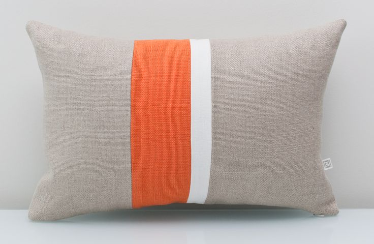 Orange pillow in 100% Linen. An ALL NATURAL Colorblock pillow using environmentally friendly fabrics. Transform your living space with this modern pillow in a feisty shade of tangerine. Looks elegant when combined with neutral hues like linen and white. Inspired by Pantone Spring Colours 2017-Flame FREE customization available