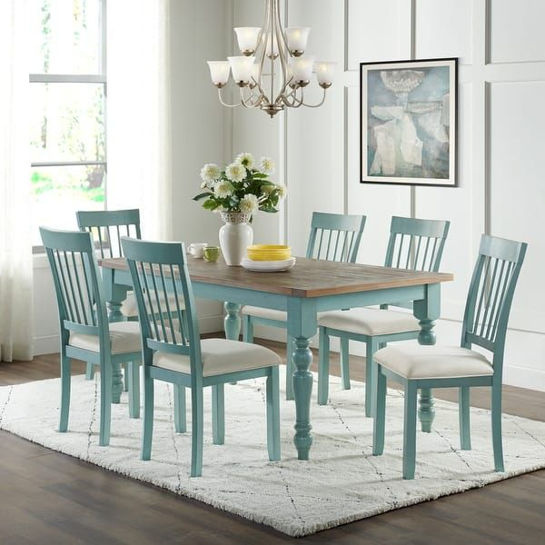 Blue Farmhouse Wood Dining Table With Natural Top In 2020 Dining