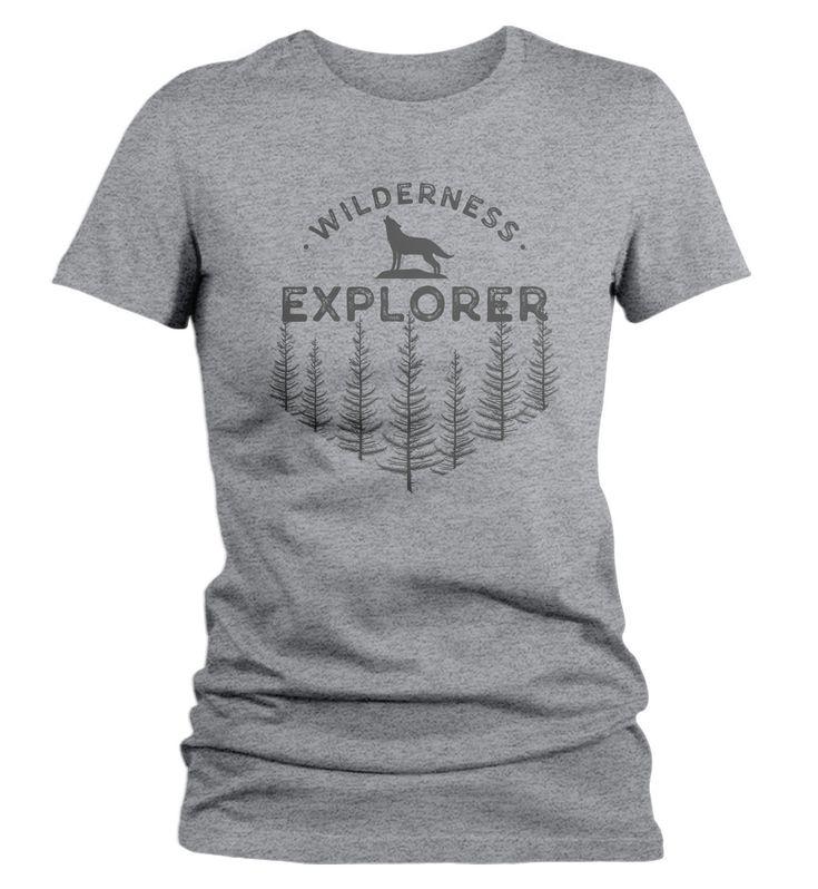 Women's Wilderness Explorer T Shirt Wanderlust Shirts Wolf Nature Shirt Hipster Shirts Wanderlust Shirt Camping Tee – Products