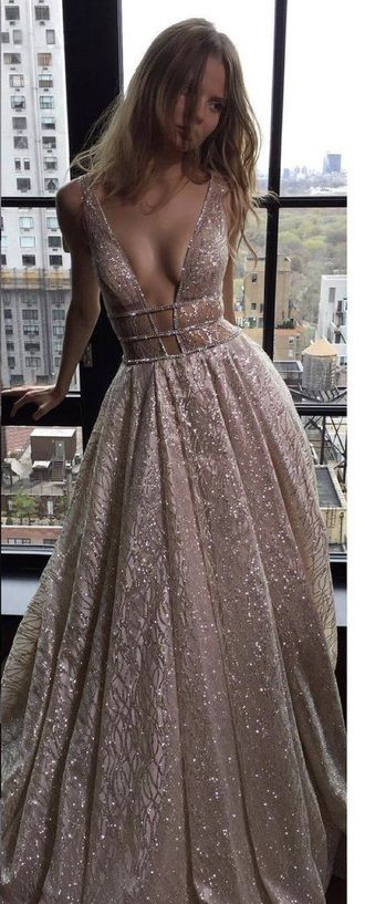 Beautiful Perfect Sexy Alternative Prom Dress Pink Sparkly Glittery Glam Low Plunging Cut Out Dress